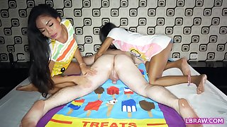 Two horny Thai transsexuals Phatida and Aemy performs a dirty massage opportunity for perverse guy.