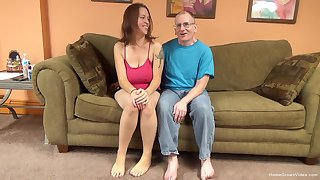 Sexy brunette amateur nearby huge natural tits is ready to put aside this old man shot at some fun!