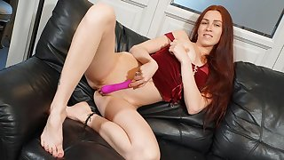 Solo redhead, Eva is toying her shaved fuck hole, alongside 4K