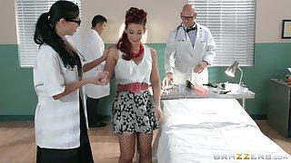Redhead slut Ryder Skye in fishnet stockings rides her doctor