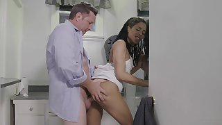 Ebony wife tries fucking after a long time hence increased by she loves it