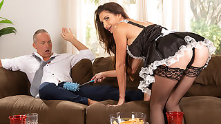 Silvia Saige cleans up a insect before fucking a married man