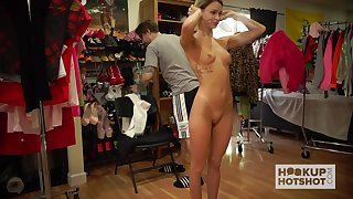 Saucy all natural exhibitionist Emma Hix shows off her tits and ass with pride