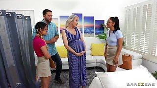 Midwives goad pregnant lady w horny boyfriend!