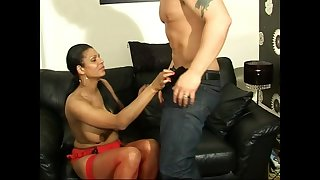 Gorgeous girl India moans while getting her pussy banged insusceptible to a couch