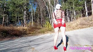 Interior and pussy flashing, teasing in a forest ♥ Buttplug insertion