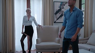 Pale housewife Skye Glum in stockings gets fucked in excess of the bed