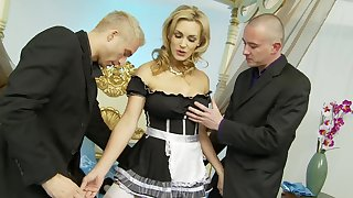 Horny unreserved Tanya Tate loves screwing with two guys in no time at all