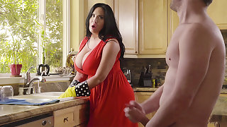 By means of cleaning stepson plow his big-chested stepmom