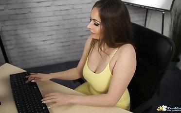 Sizzling chick Sophia Delane shows missing say no to super racy bib boobies near blouse