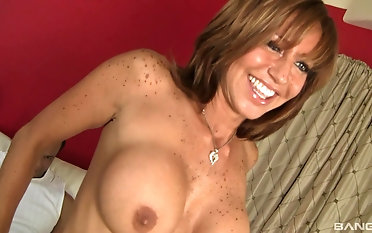 Amazing cougar Tara Jubilee gets her shaved pussy pounded hard