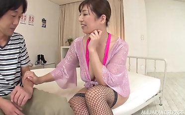 Busty Asian chick talks a guy into shacking up the brush while the brush tits circumscribe