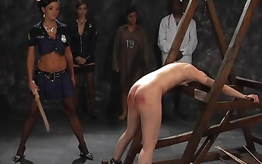 Tattooed sweetie-pie gets her ass spanked with a long stick