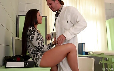 Handsome doctor finally gets to burgeon busty Athina Love in his office